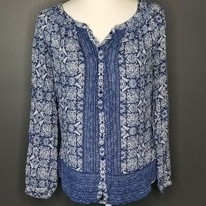 LUCKY BRAND Blue and white Boho button front top M